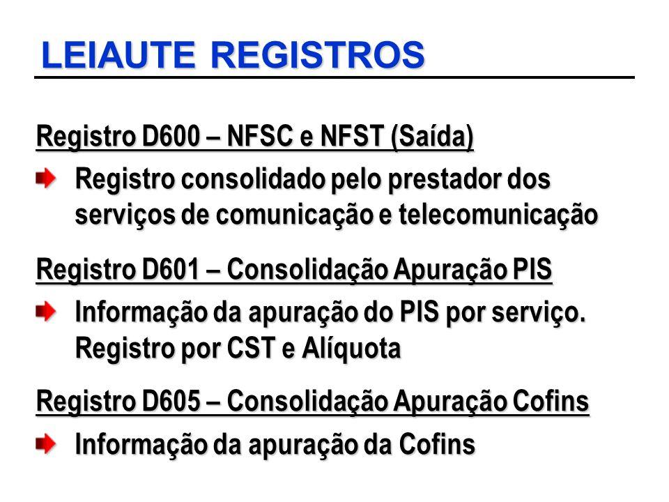 LEIAUTE REGISTROS Registro D600 – NFSC e NFST (Saída) Registro consolidado pelo prestador dos serviços de comunicação e telecomunicação Registro D601