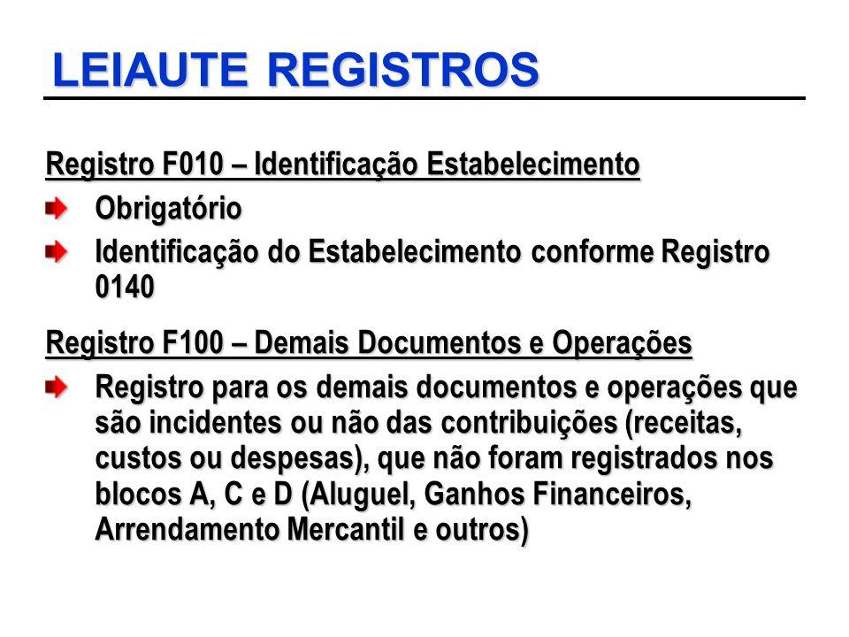 LEIAUTE REGISTROS Registro F010 – Identificação Estabelecimento Obrigatório Identificação do Estabelecimento conforme Registro 0140 Registro F100 – De