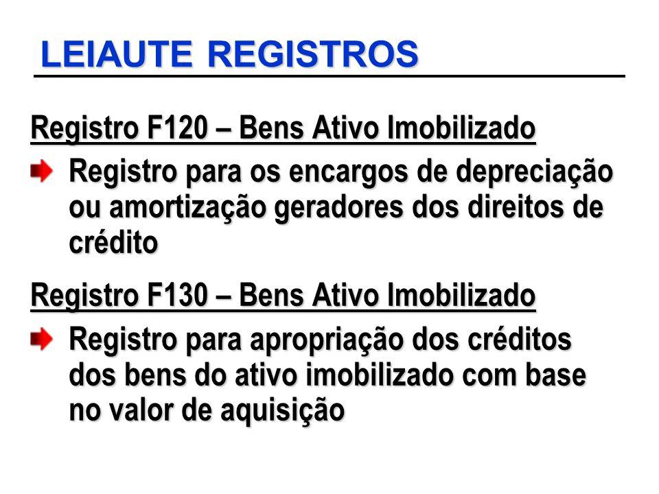 LEIAUTE REGISTROS Registro F120 – Bens Ativo Imobilizado Registro para os encargos de depreciação ou amortização geradores dos direitos de crédito Reg