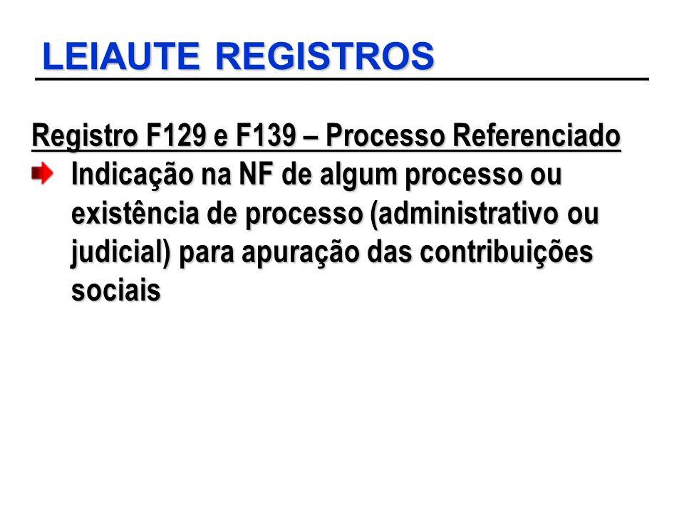 LEIAUTE REGISTROS Registro F129 e F139 – Processo Referenciado Indicação na NF de algum processo ou existência de processo (administrativo ou judicial