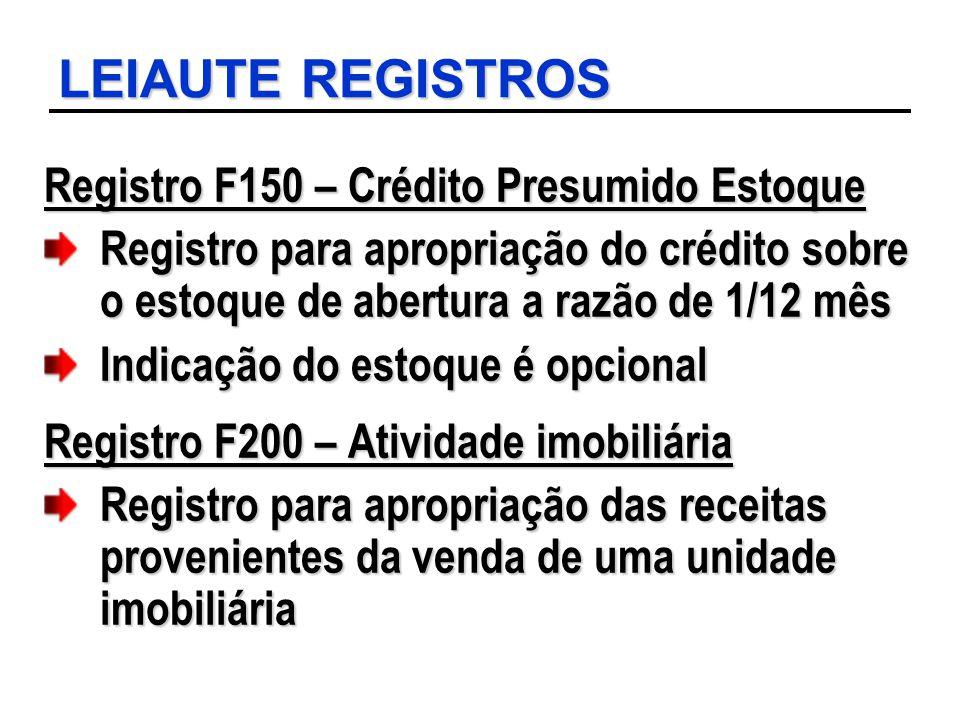 LEIAUTE REGISTROS Registro F150 – Crédito Presumido Estoque Registro para apropriação do crédito sobre o estoque de abertura a razão de 1/12 mês Indic