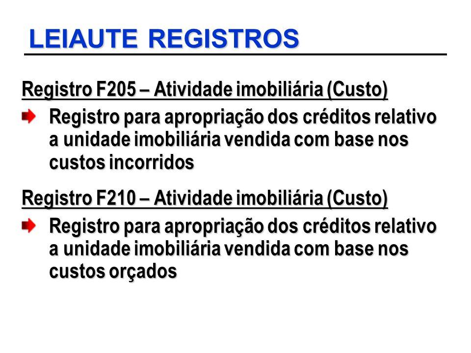 LEIAUTE REGISTROS Registro F205 – Atividade imobiliária (Custo) Registro para apropriação dos créditos relativo a unidade imobiliária vendida com base