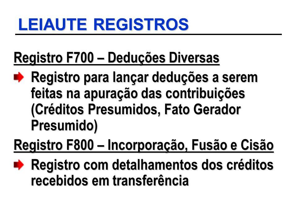 LEIAUTE REGISTROS Registro F700 – Deduções Diversas Registro para lançar deduções a serem feitas na apuração das contribuições (Créditos Presumidos, F
