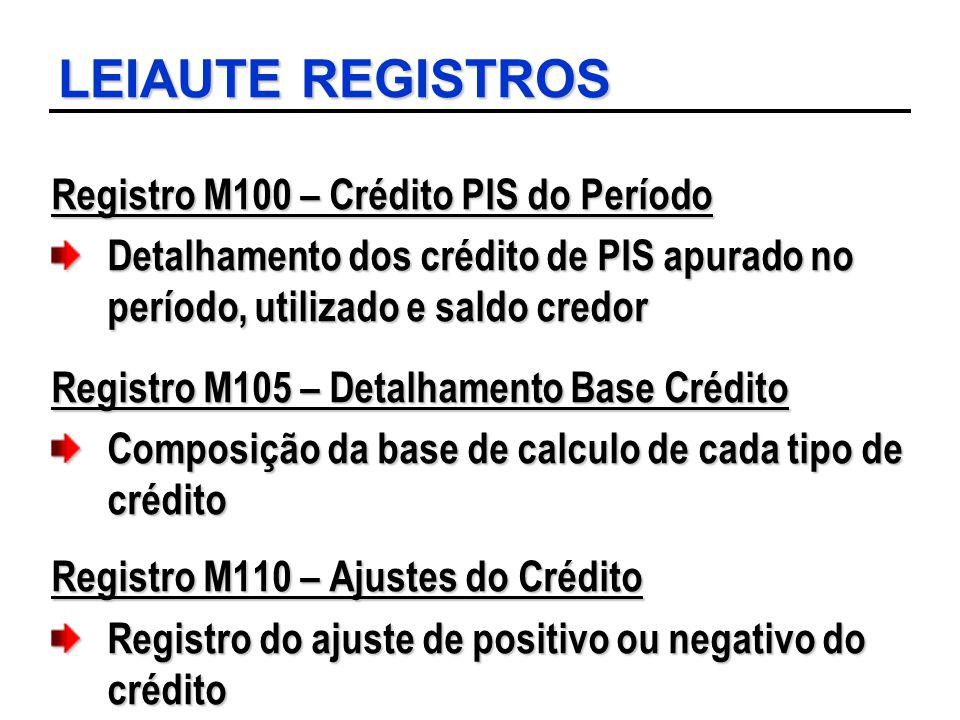 LEIAUTE REGISTROS Registro M100 – Crédito PIS do Período Detalhamento dos crédito de PIS apurado no período, utilizado e saldo credor Registro M105 –