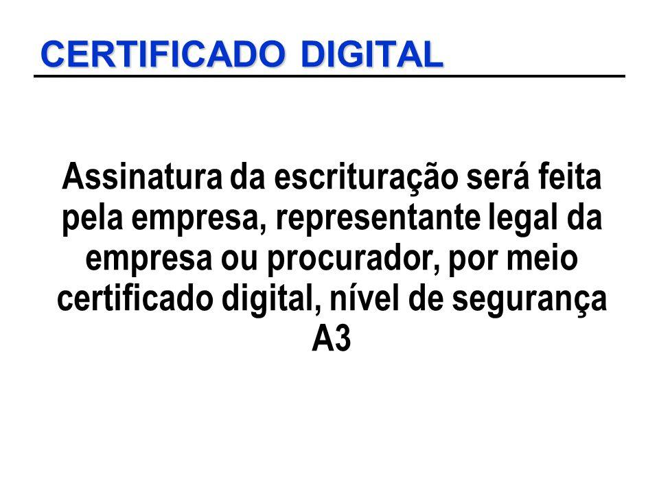 CERTIFICADO DIGITAL Assinatura da escrituração será feita pela empresa, representante legal da empresa ou procurador, por meio certificado digital, ní
