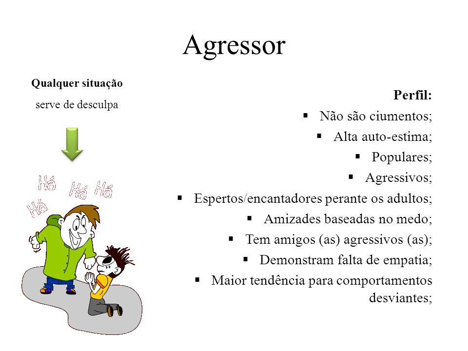 Agressor Perfil:  Não são ciumentos;  Alta auto-estima;  Populares;  Agressivos;  Espertos/encantadores perante os adultos;  Amizades baseadas n