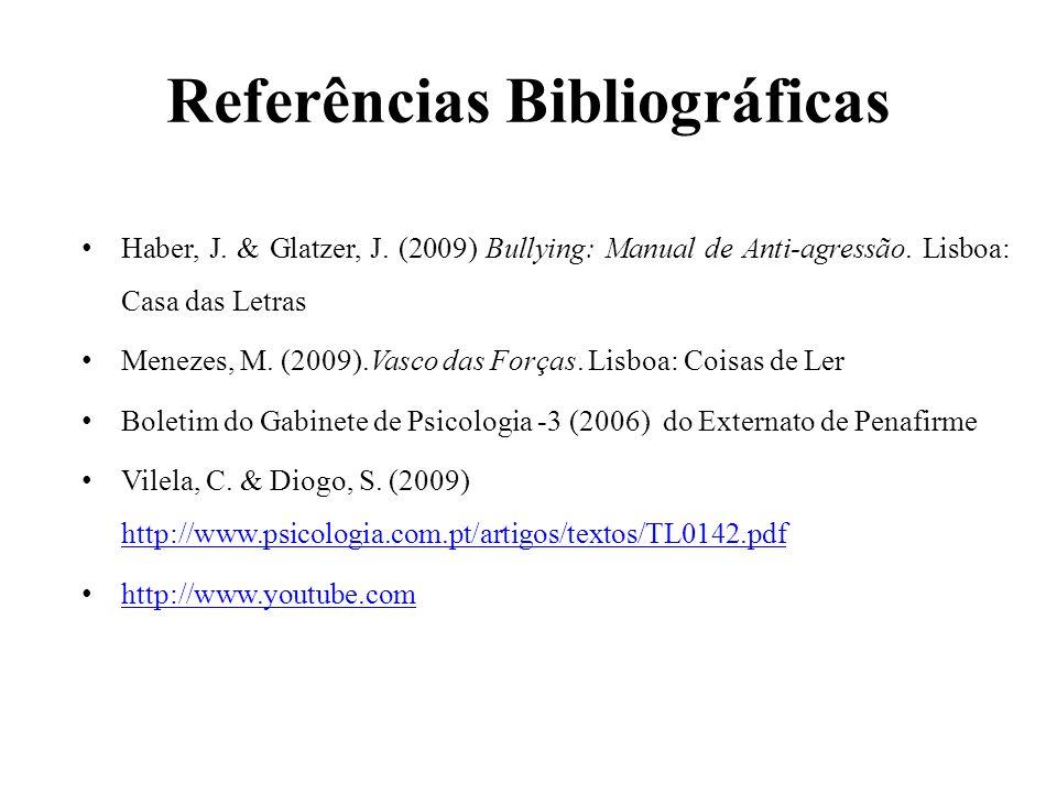 Referências Bibliográficas Haber, J. & Glatzer, J. (2009) Bullying: Manual de Anti-agressão. Lisboa: Casa das Letras Menezes, M. (2009).Vasco das Forç