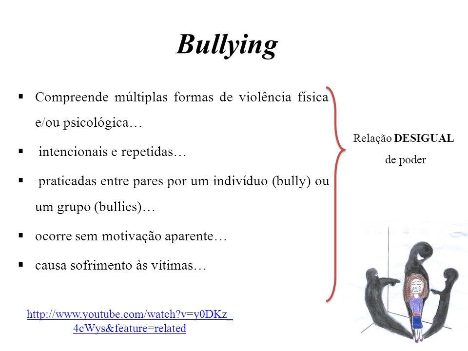Bullying  Compreende múltiplas formas de violência física e/ou psicológica…  intencionais e repetidas…  praticadas entre pares por um indivíduo (bu