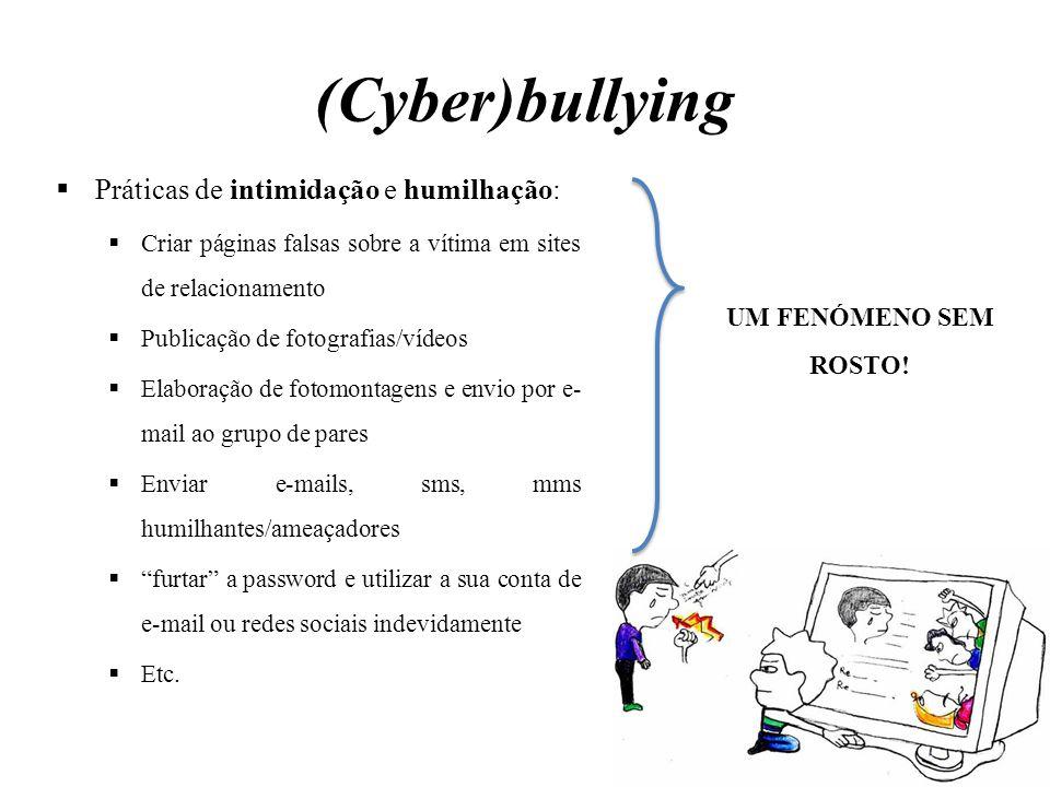  Práticas de intimidação e humilhação:  Criar páginas falsas sobre a vítima em sites de relacionamento  Publicação de fotografias/vídeos  Elaboraç