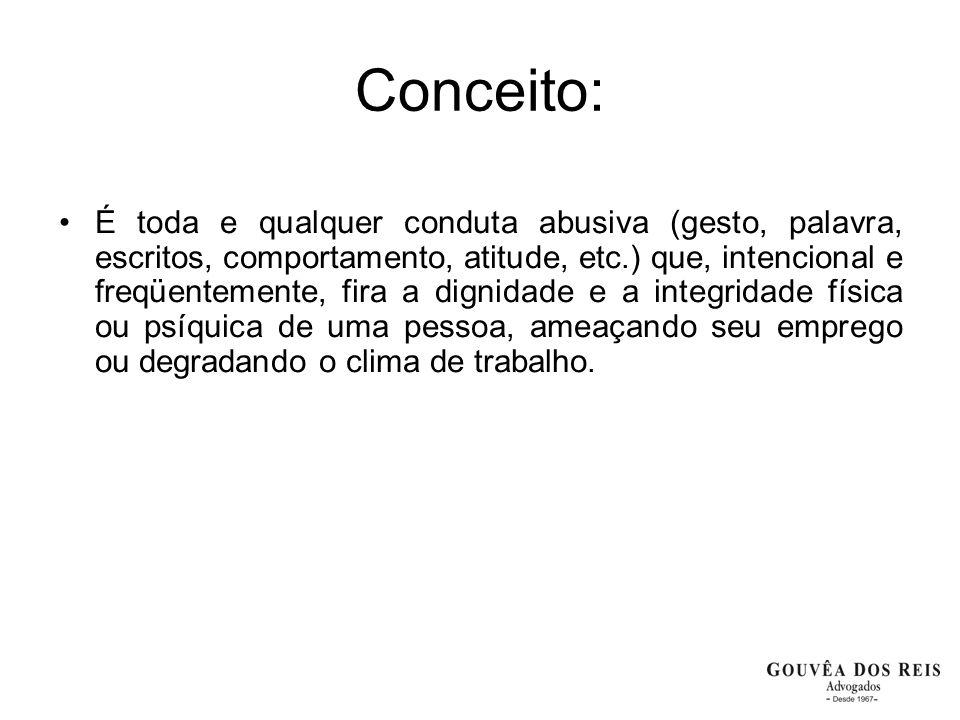 Conceito: É toda e qualquer conduta abusiva (gesto, palavra, escritos, comportamento, atitude, etc.) que, intencional e freqüentemente, fira a dignida