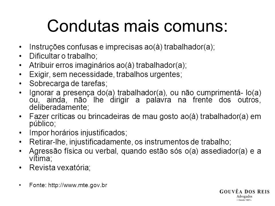 Condutas mais comuns: Instruções confusas e imprecisas ao(à) trabalhador(a); Dificultar o trabalho; Atribuir erros imaginários ao(à) trabalhador(a); E