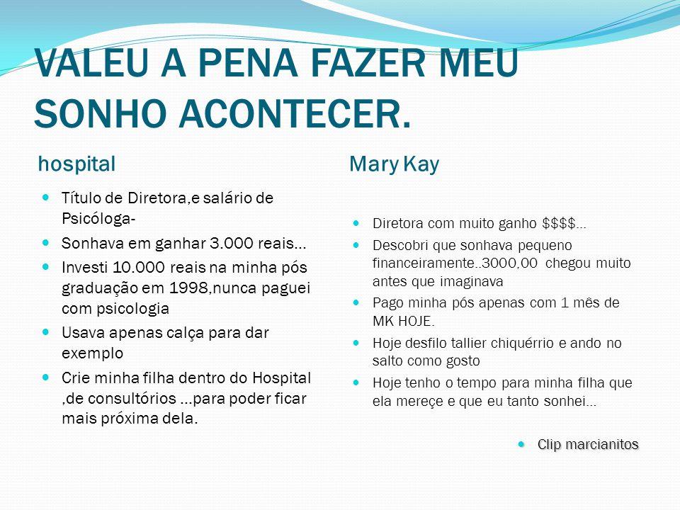 VALEU A PENA FAZER MEU SONHO ACONTECER. hospital Mary Kay Título de Diretora,e salário de Psicóloga- Sonhava em ganhar 3.000 reais… Investi 10.000 rea