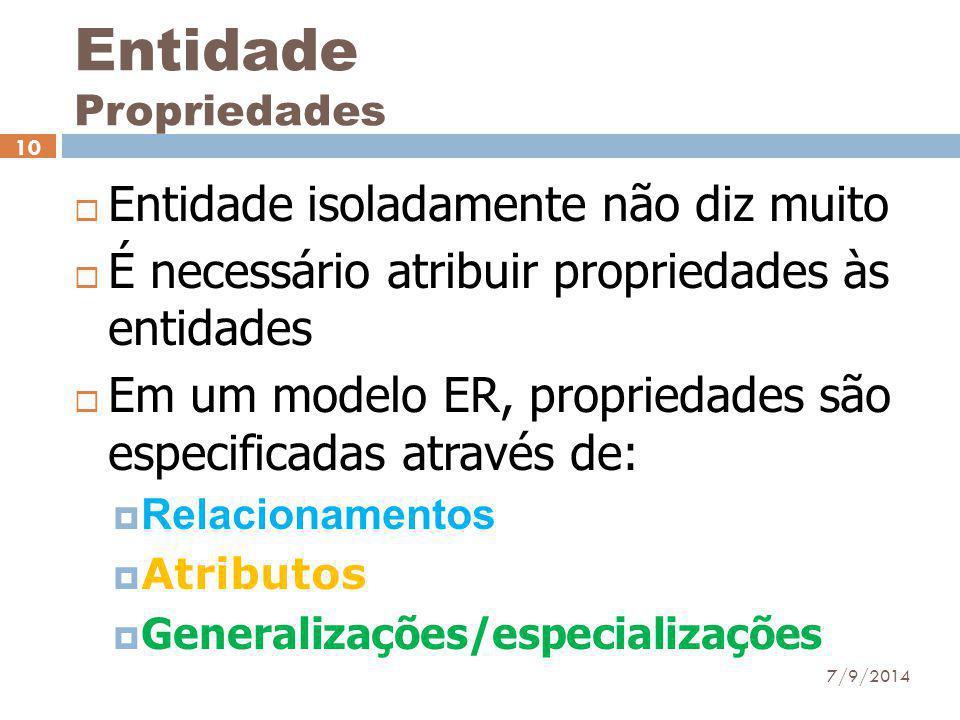 Entidade Propriedades  Entidade isoladamente não diz muito  É necessário atribuir propriedades às entidades  Em um modelo ER, propriedades são espe
