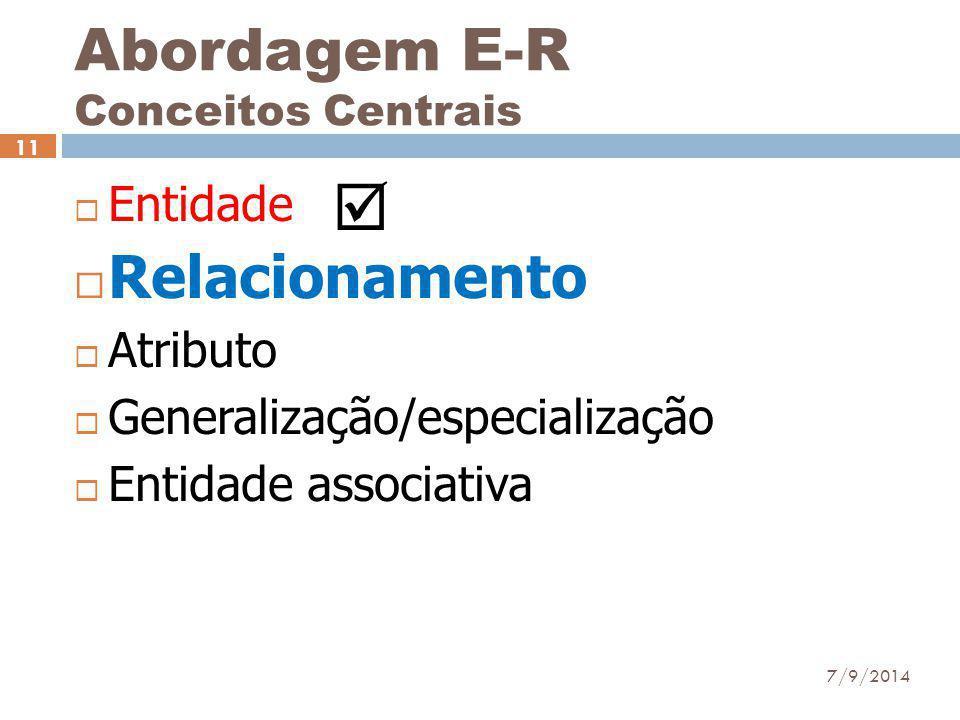 Abordagem E-R Conceitos Centrais  Entidade  Relacionamento  Atributo  Generalização/especialização  Entidade associativa 7/9/2014 11 