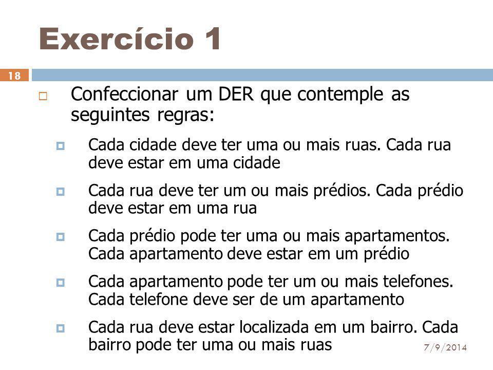 Exercício 1  Confeccionar um DER que contemple as seguintes regras:  Cada cidade deve ter uma ou mais ruas. Cada rua deve estar em uma cidade  Cada
