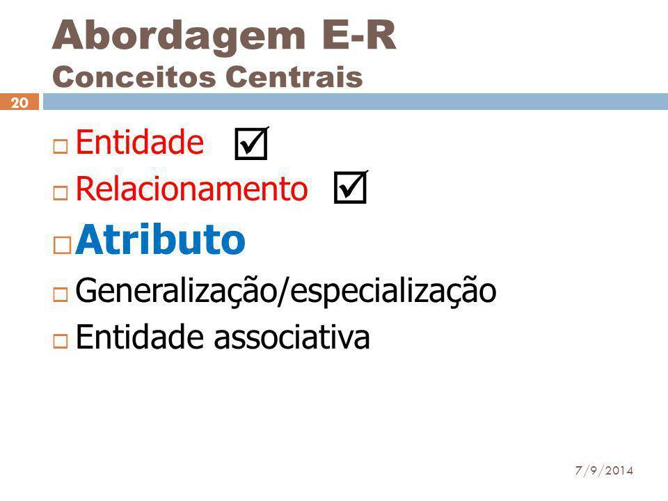 Abordagem E-R Conceitos Centrais  Entidade  Relacionamento  Atributo  Generalização/especialização  Entidade associativa 7/9/2014 20  