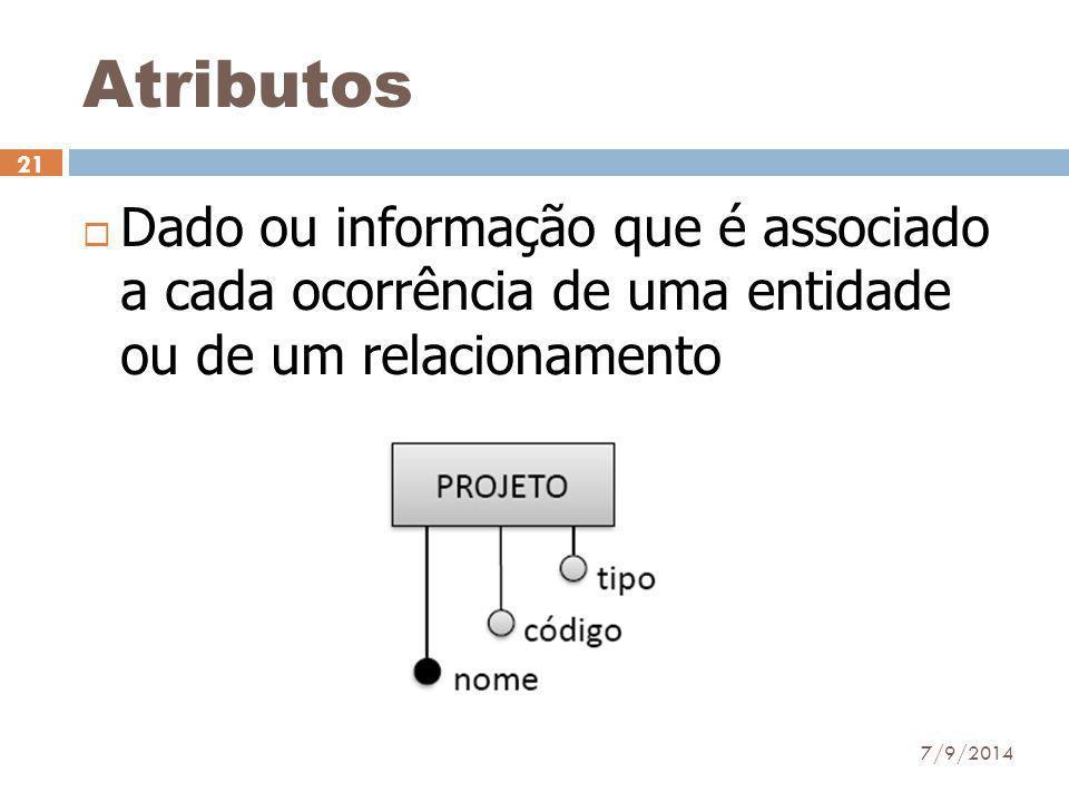 Atributos  Dado ou informação que é associado a cada ocorrência de uma entidade ou de um relacionamento 7/9/2014 21
