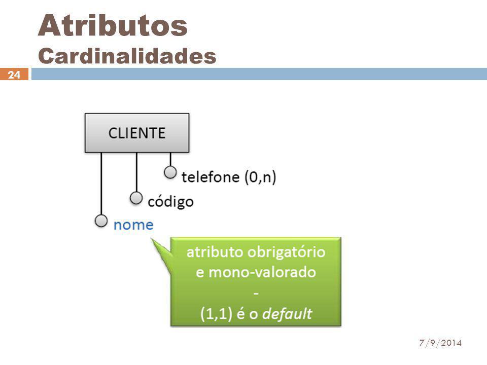 Atributos Cardinalidades 7/9/2014 24