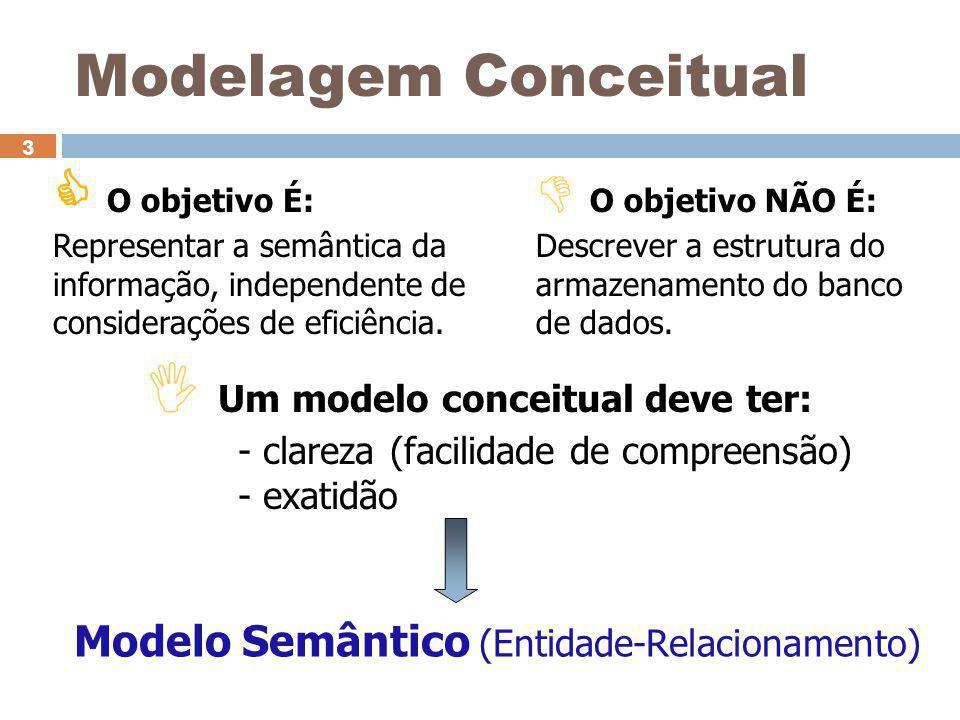 3  O objetivo É: Representar a semântica da informação, independente de considerações de eficiência.  O objetivo NÃO É: Descrever a estrutura do arm
