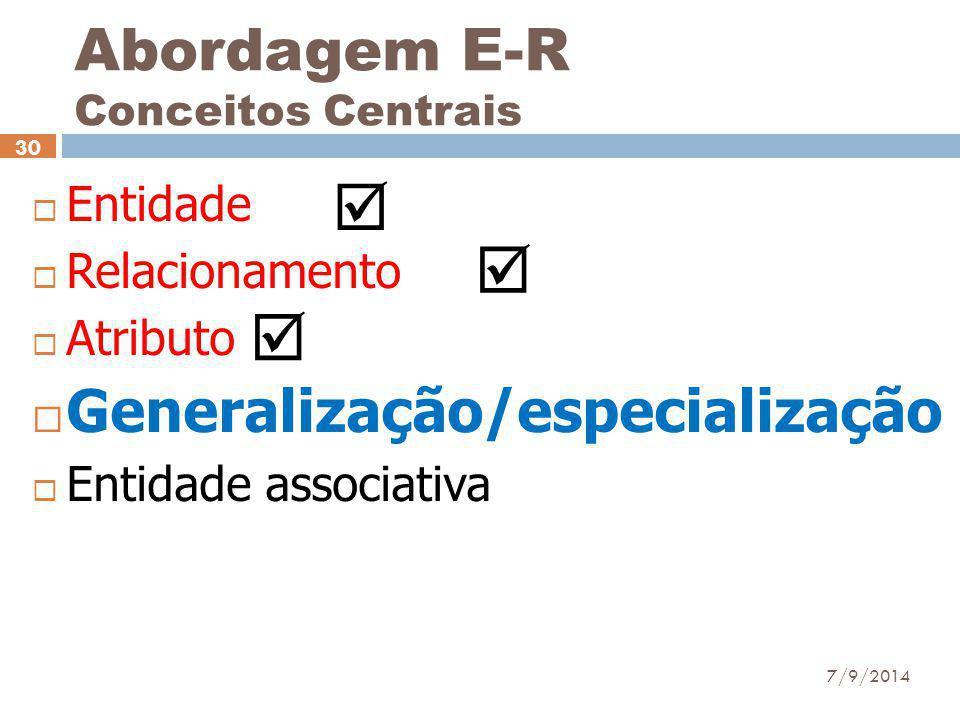 Abordagem E-R Conceitos Centrais  Entidade  Relacionamento  Atributo  Generalização/especialização  Entidade associativa 7/9/2014 30   