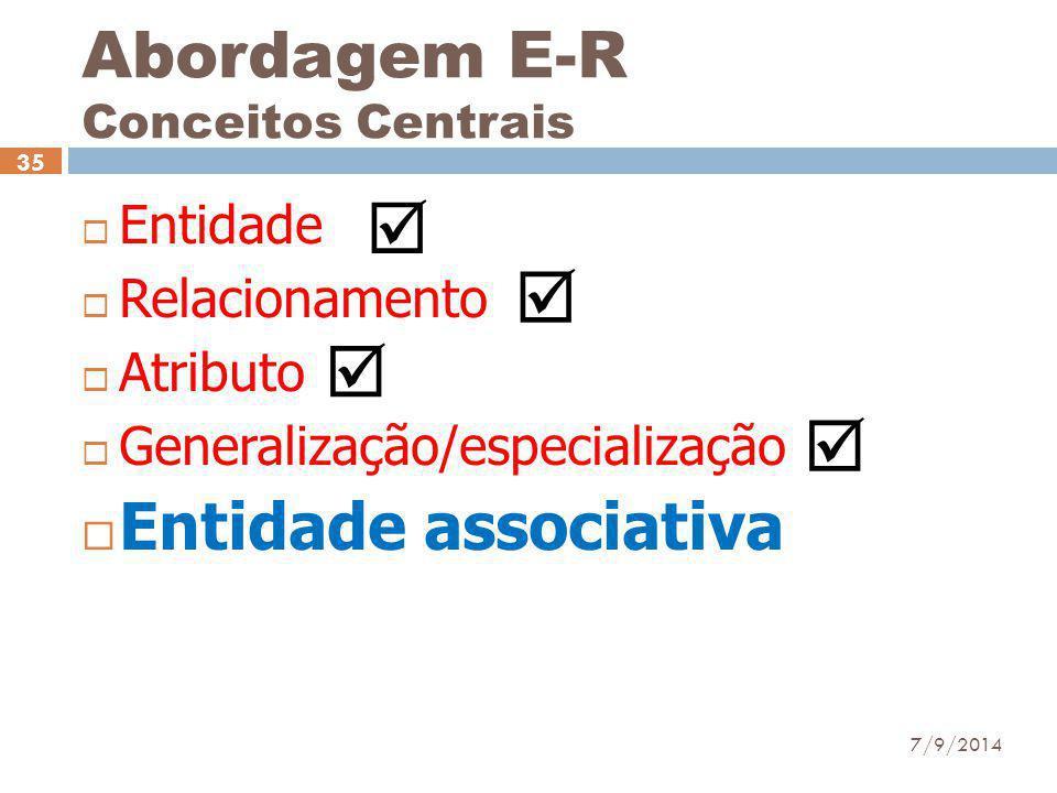 Abordagem E-R Conceitos Centrais  Entidade  Relacionamento  Atributo  Generalização/especialização  Entidade associativa 7/9/2014 35    