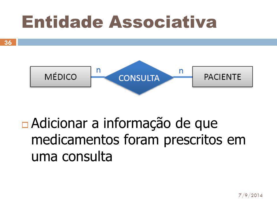 Entidade Associativa  Adicionar a informação de que medicamentos foram prescritos em uma consulta 7/9/2014 36