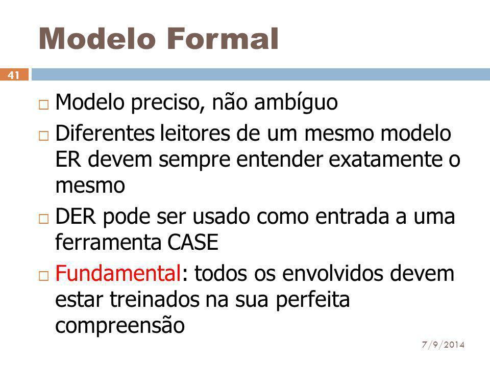 Modelo Formal  Modelo preciso, não ambíguo  Diferentes leitores de um mesmo modelo ER devem sempre entender exatamente o mesmo  DER pode ser usado