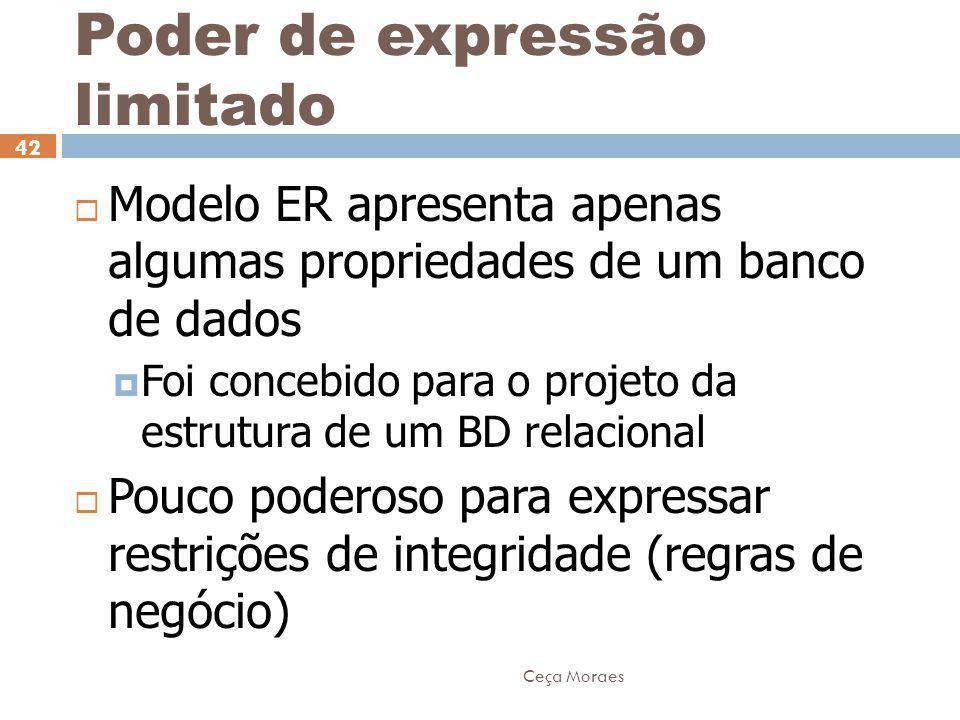 Ceça Moraes 42 Poder de expressão limitado  Modelo ER apresenta apenas algumas propriedades de um banco de dados  Foi concebido para o projeto da es