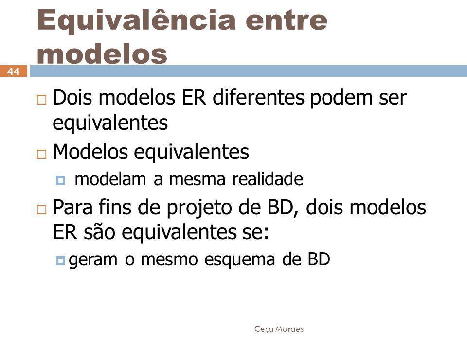 Ceça Moraes 44  Dois modelos ER diferentes podem ser equivalentes  Modelos equivalentes  modelam a mesma realidade  Para fins de projeto de BD, do