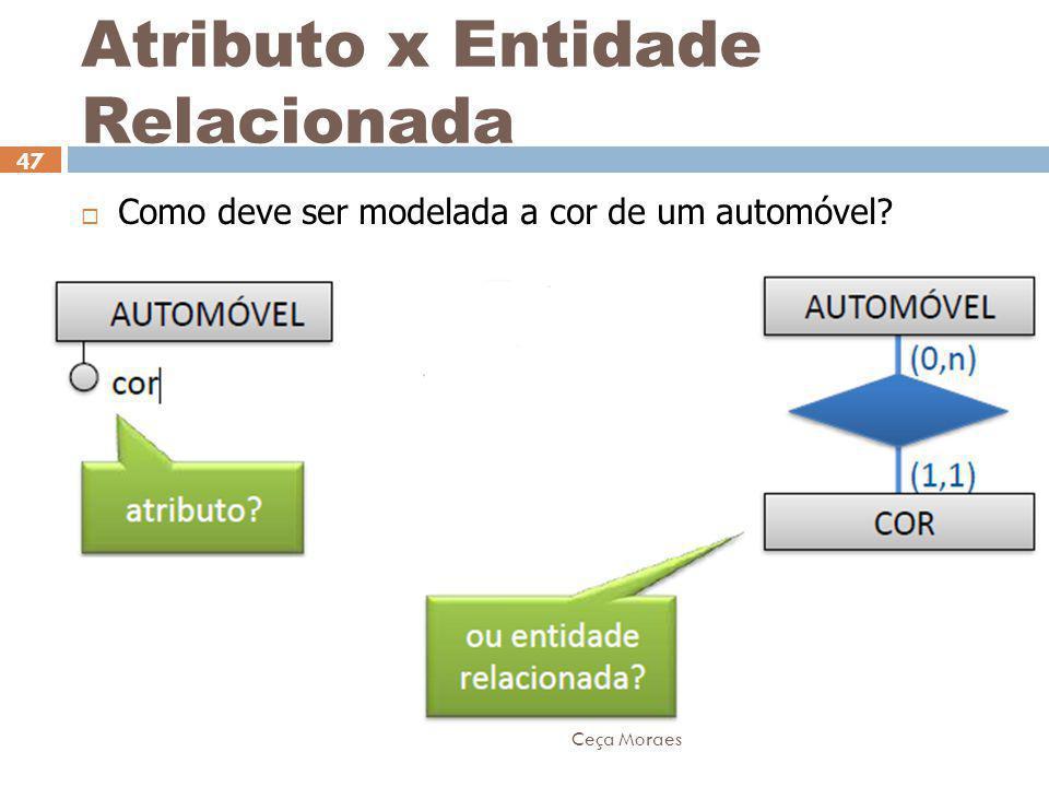 Ceça Moraes 47 Atributo x Entidade Relacionada  Como deve ser modelada a cor de um automóvel?