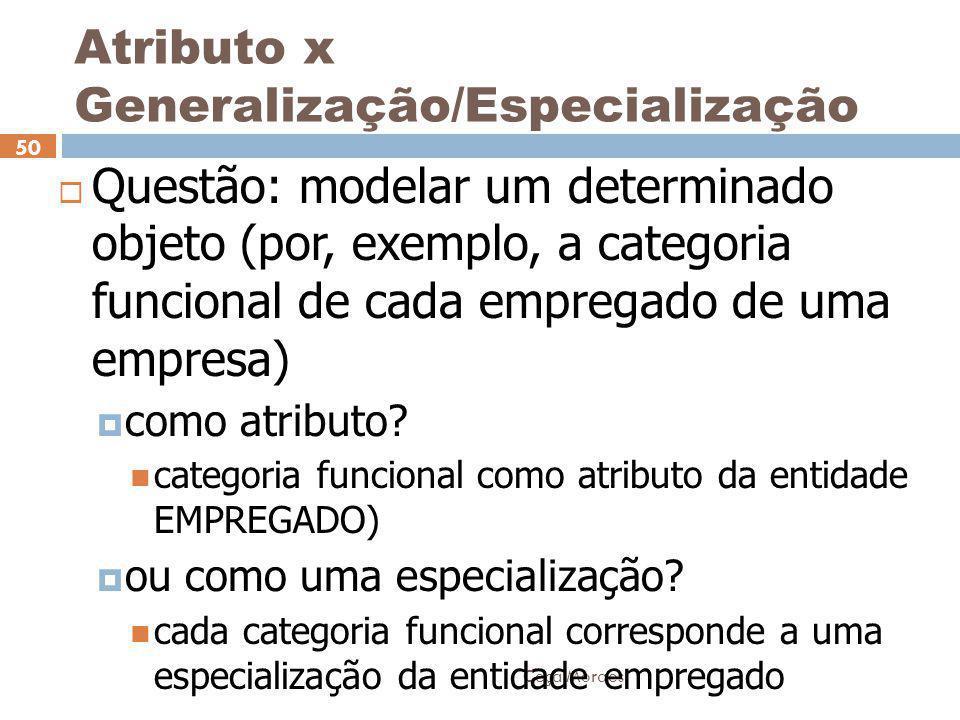 Ceça Moraes 50  Questão: modelar um determinado objeto (por, exemplo, a categoria funcional de cada empregado de uma empresa)  como atributo? catego