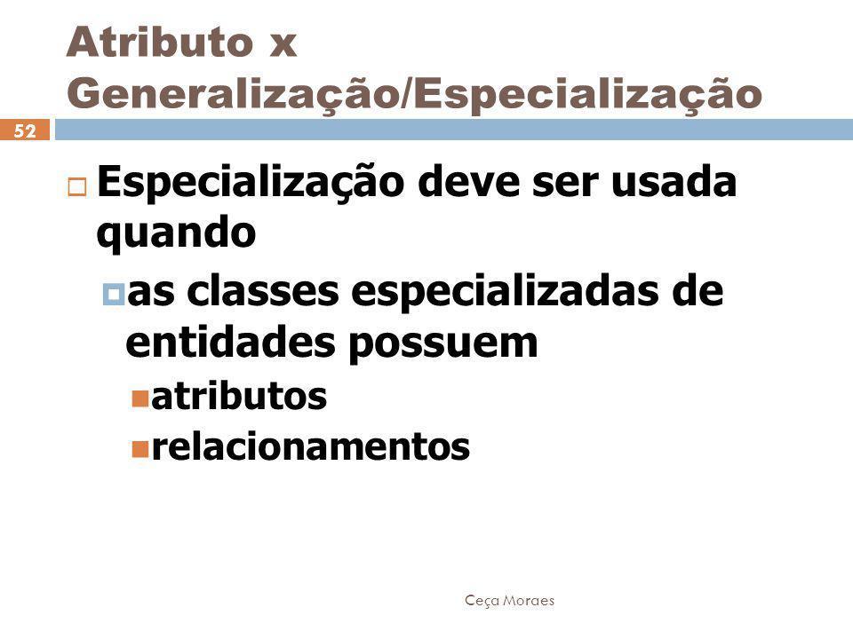 Ceça Moraes 52  Especialização deve ser usada quando  as classes especializadas de entidades possuem atributos relacionamentos Atributo x Generaliza
