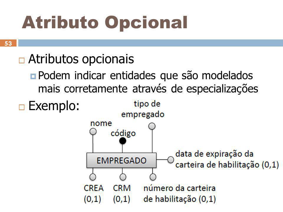 Ceça Moraes 53 Atributo Opcional  Atributos opcionais  Podem indicar entidades que são modelados mais corretamente através de especializações  Exem