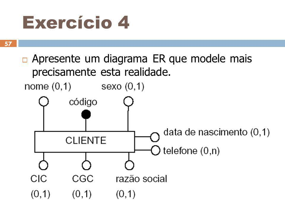 Exercício 4  Apresente um diagrama ER que modele mais precisamente esta realidade. 7/9/2014 57