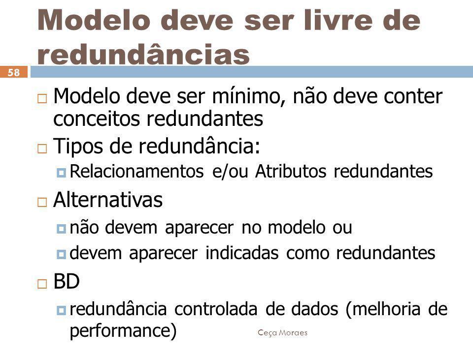 Ceça Moraes 58 Modelo deve ser livre de redundâncias  Modelo deve ser mínimo, não deve conter conceitos redundantes  Tipos de redundância:  Relacio