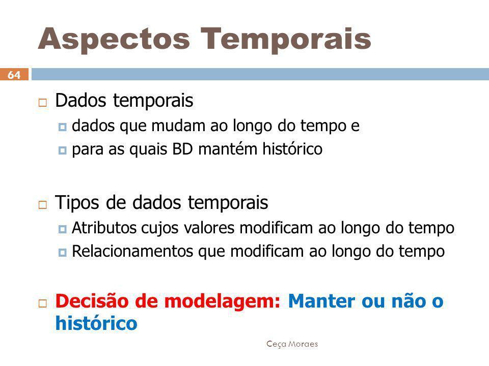 Ceça Moraes 64  Dados temporais  dados que mudam ao longo do tempo e  para as quais BD mantém histórico  Tipos de dados temporais  Atributos cujo