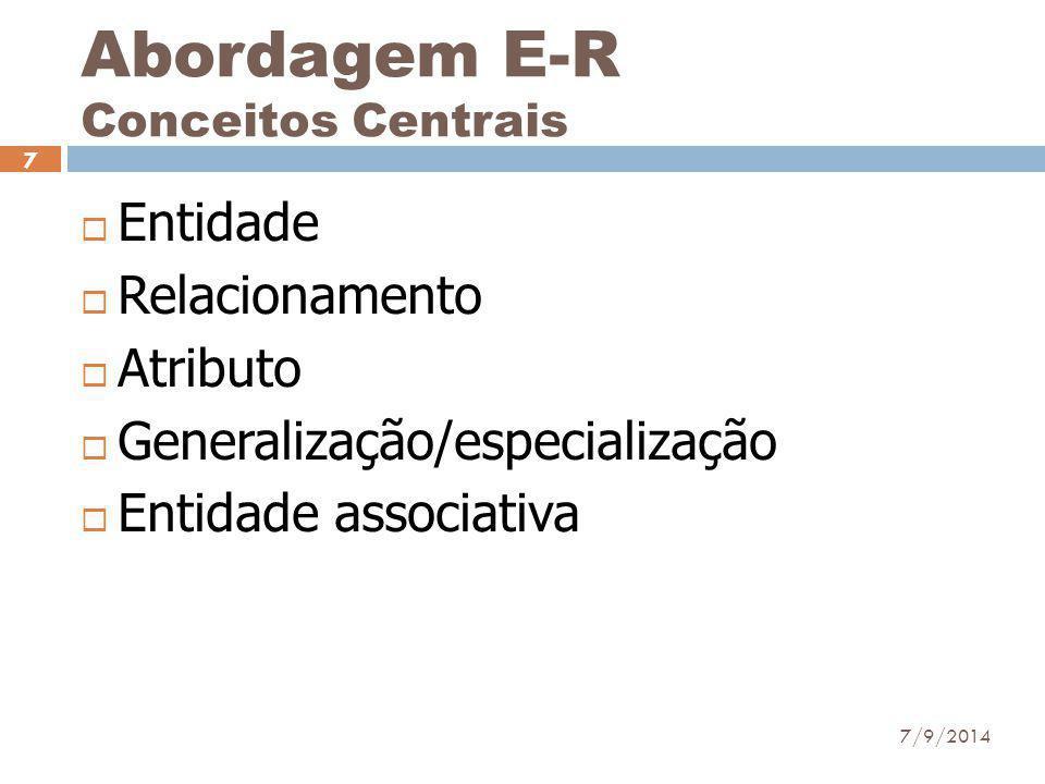 Abordagem E-R Conceitos Centrais  Entidade  Relacionamento  Atributo  Generalização/especialização  Entidade associativa 7/9/2014 7