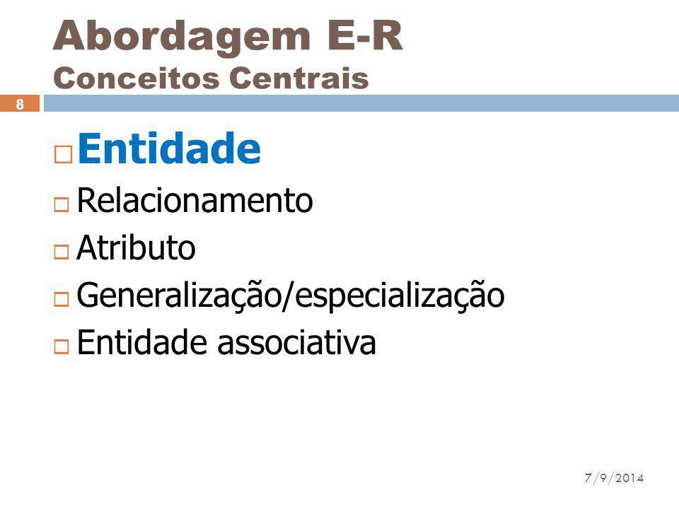 Abordagem E-R Conceitos Centrais  Entidade  Relacionamento  Atributo  Generalização/especialização  Entidade associativa 7/9/2014 8