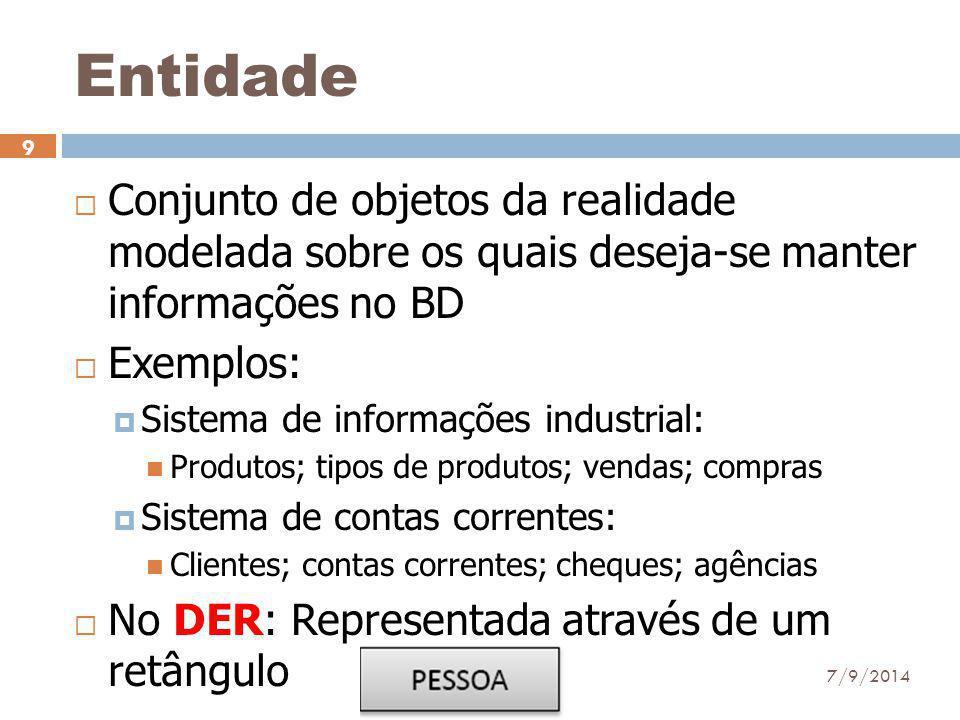 Entidade  Conjunto de objetos da realidade modelada sobre os quais deseja-se manter informações no BD  Exemplos:  Sistema de informações industrial