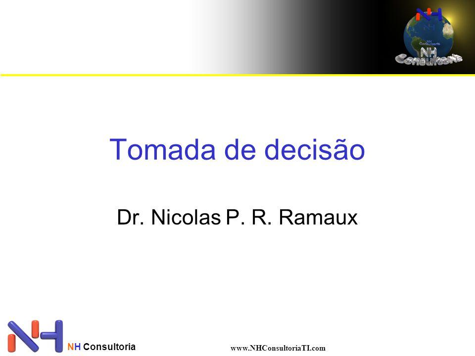 NH Consultoria www.NHConsultoriaTI.com Decisão com incerteza Exemplo das bolas Medição multivalor para o evento bola verde : –A = 0% ; f(0%) = 1% –A = 33% ; f(33%) = 50% –A = 66% ; f(66%) = 49% Evento Bola Azul : –B = 66% ; g(66%) = 1% –B = 33% ; g(33%) = 50% –B = 0% ; g(0%) = 49%