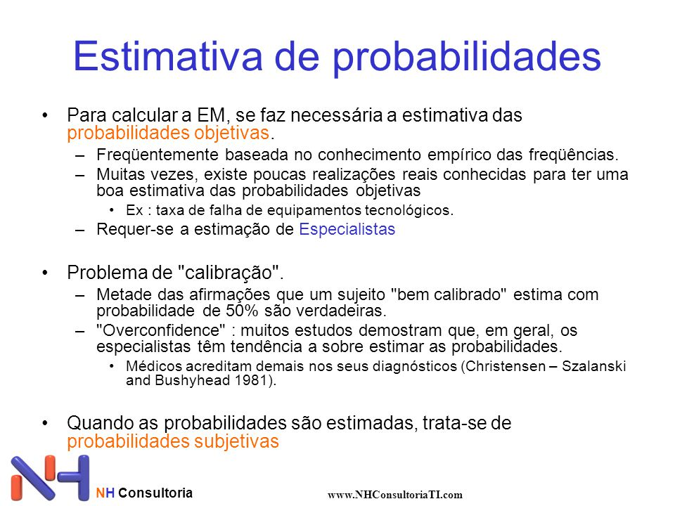 NH Consultoria www.NHConsultoriaTI.com Estimativa de probabilidades Para calcular a EM, se faz necessária a estimativa das probabilidades objetivas. –