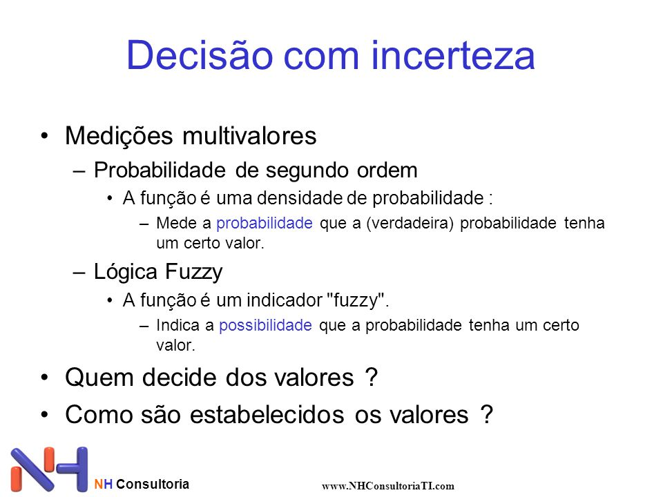 NH Consultoria www.NHConsultoriaTI.com Decisão com incerteza Medições multivalores –Probabilidade de segundo ordem A função é uma densidade de probabi