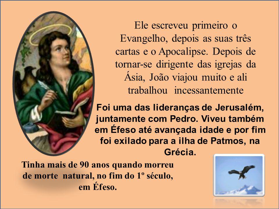 Ele escreveu primeiro o Evangelho, depois as suas três cartas e o Apocalipse. Depois de tornar-se dirigente das igrejas da Ásia, João viajou muito e a