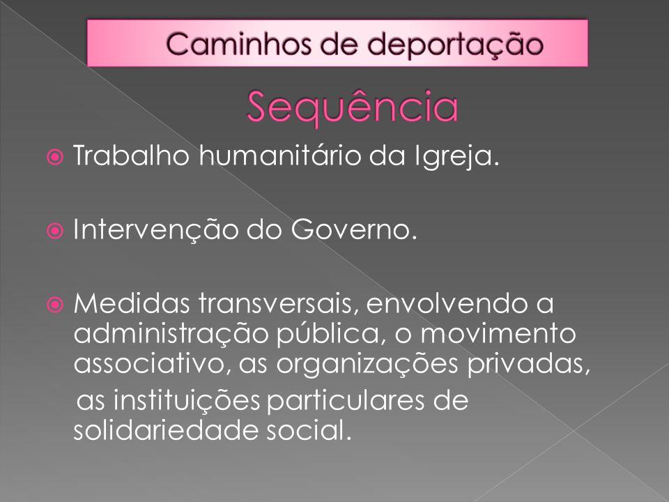  Trabalho humanitário da Igreja.  Intervenção do Governo.  Medidas transversais, envolvendo a administração pública, o movimento associativo, as or
