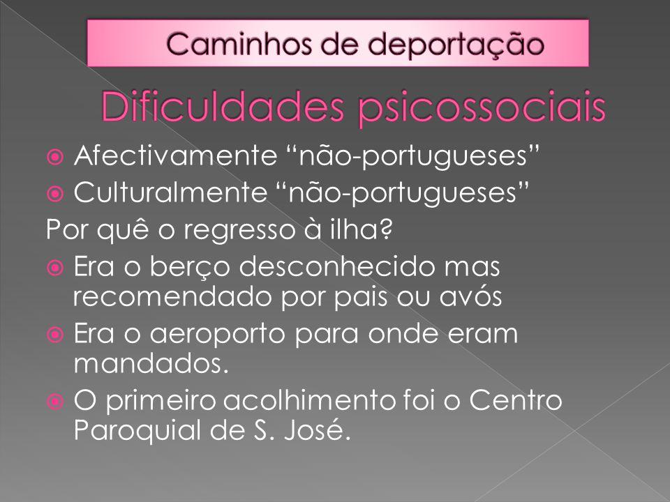 """ Afectivamente """"não-portugueses""""  Culturalmente """"não-portugueses"""" Por quê o regresso à ilha?  Era o berço desconhecido mas recomendado por pais ou"""