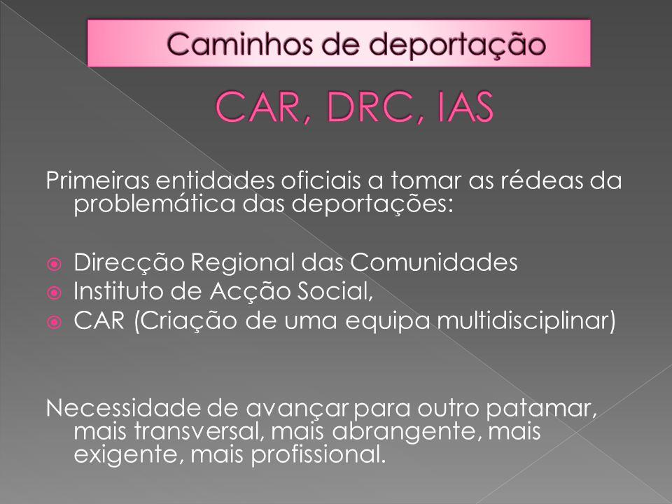 Primeiras entidades oficiais a tomar as rédeas da problemática das deportações:  Direcção Regional das Comunidades  Instituto de Acção Social,  CAR