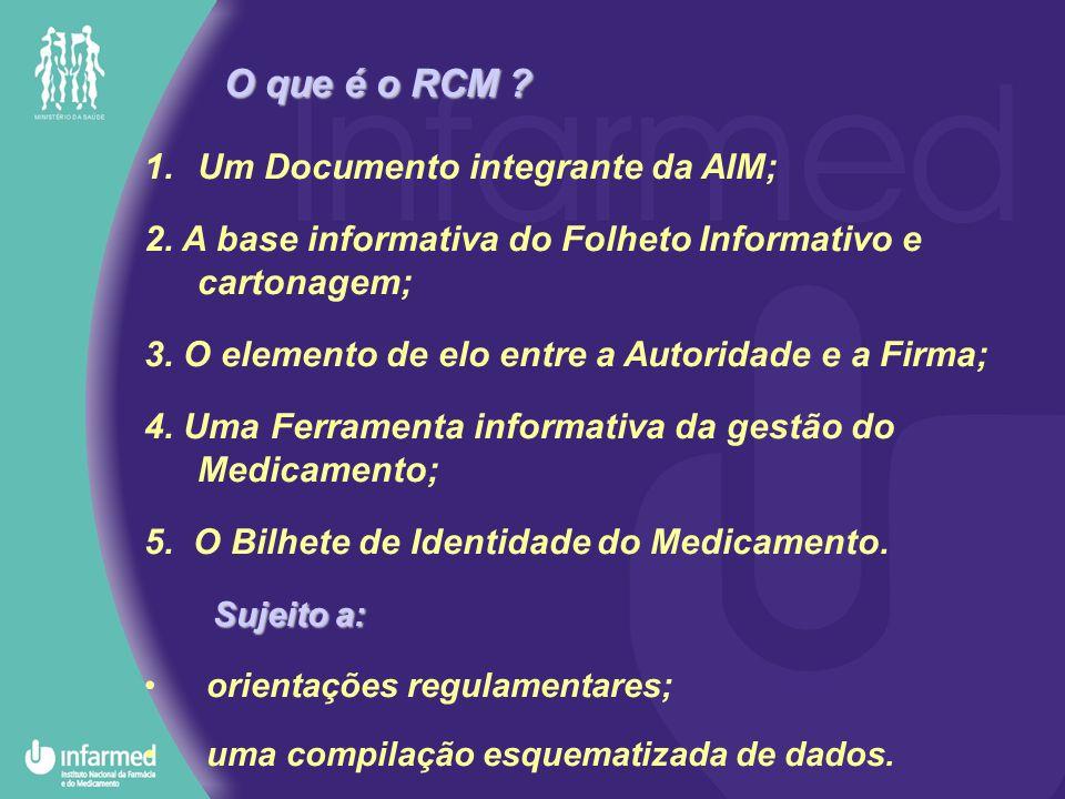 1.Um Documento integrante da AIM; 2. A base informativa do Folheto Informativo e cartonagem; 3. O elemento de elo entre a Autoridade e a Firma; 4. Uma