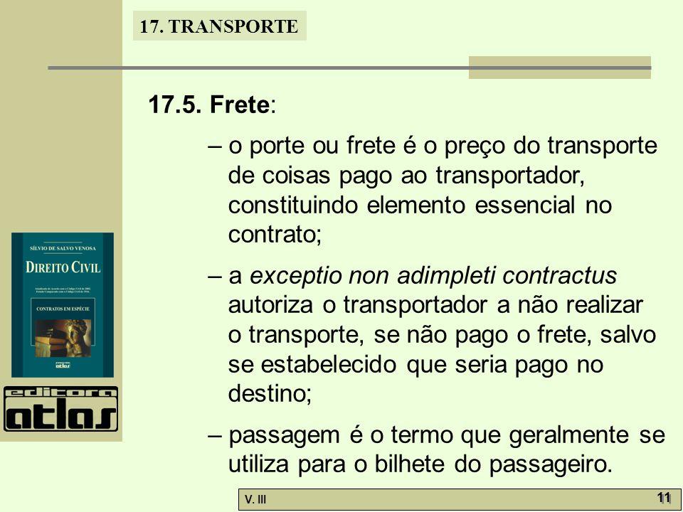 17.TRANSPORTE V. III 12 17.6. Obrigações das partes.