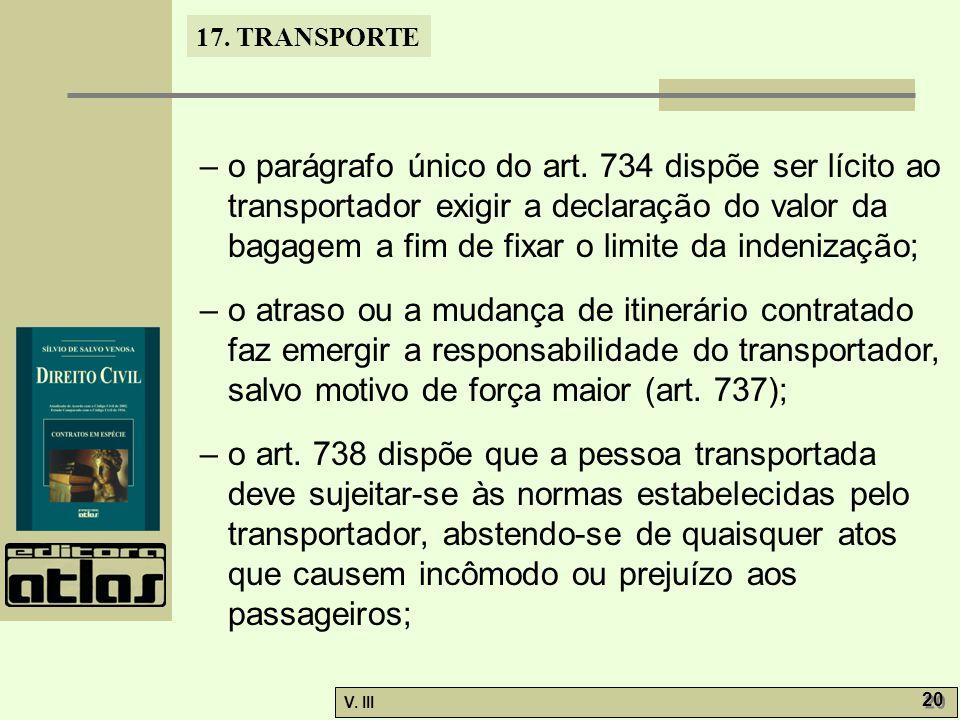 17.TRANSPORTE V. III 21 – o parágrafo único do art.