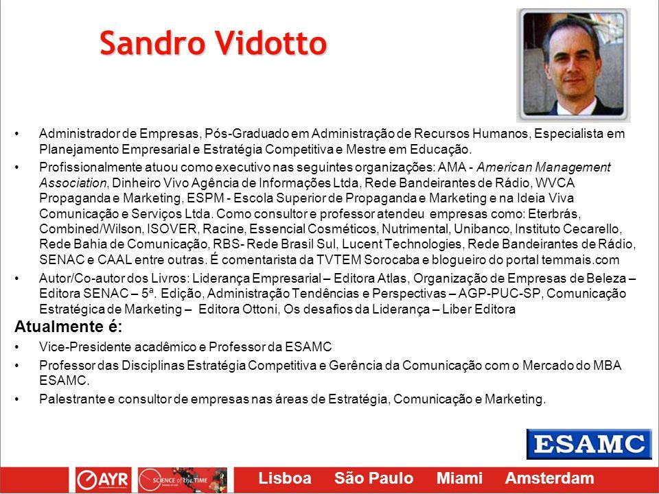 Lisboa São Paulo Miami Amsterdam Sandro Vidotto Administrador de Empresas, Pós-Graduado em Administração de Recursos Humanos, Especialista em Planejam